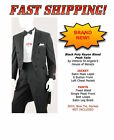 New BLACK PolyRayon PEAK Lapel Formal Tuxedo Tails Jacket Pants SET All Sizes