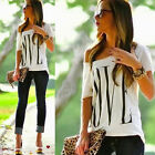 Fashion Women Summer Top Blouse Casual Tee Tops Off Shoulder Short T-Shirt White
