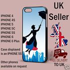 Mary Poppins silhouette Flying Image iphone cover Black Phone Case