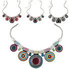 2015 Retro Silver Plated Colorful Choker Pendant Statement Necklace For Women