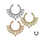 1pc Clip On Multi-style Nose Ring Hoop Fake Septum Crystal Clicker Non Piercing