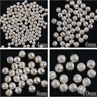 Silver Plated Metal Filigree Round Spacer Beads 4/6/8/10MM
