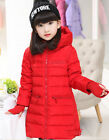 2015 Kids Girls Hooded Glove Thicken long section Down Jacket 8 Color size 4-10Y