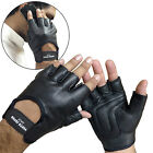 MENS LEATHER FINGERLESS GLOVES MENS WOMENS GENUINE LEATHER GLOVES MOTORCYCLE