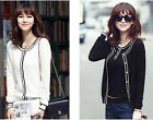 Women long sleeve Button front  Solid O-Neck Button Down Cardigan Sweater