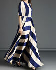 Sexy Summer Womens Mid Sleeve Boho Beach Striped Long Maxi Evening Party Dress