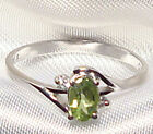 Genuine Faceted Oval Green Peridot .925 Sterling Silver Ring -- PD857