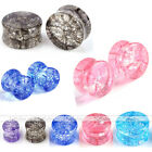 10x Mixed Color Organic Shattered Cracked Quartz Stone Ear Plugs Tunnel Expander