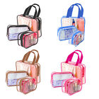 3 Piece Cosmetic Makeup Toiletry Clear PVC Organizer Travel Wash Bags Holder Set