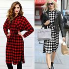 Fashion Autumn Women Long Sleeve Black White Plaid Long BOHO Maxi T-shirt Dress