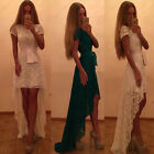 Sexy Women Lace Evening Party Cocktail Dress Asymmetric Hem Dovetail Long Dress
