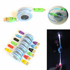 LED Light Up Smiley Retractable Data Charger Cable For IPHONE 5 5S 5C 6 6+ Ipad