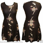 SKELETON IN TOP HAT SKATER DRESS SIZE 8-18  GOTH ALTERNATIVE SWING