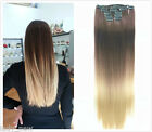 """DIY half head Clip In ombre dip dye hair extensions full head 20"""" real as remy"""