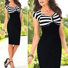 Women Ladies Slim Striped Bodycon Party Cocktail Clubwear Pencil One-piece Dress