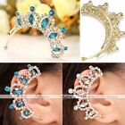 1x Gold Plated Rhinestone Crown Cartilage Clip-on Wrap Ear Cuff Earring Gift NEW