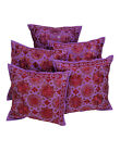 """Rajrang Home Decor Cotton Embroidered Purple Floral 16"""" Sofa Cushions Covers"""
