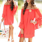 Sexy Women OFF SHOULDER Casual Chiffon Lotus Sleeve Cocktail Party Loose Dress