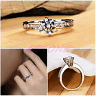 Fashion Jewelry Lady Wedding Ring Size 5/6.5/7/8 Silver Plated AAA Zirconia