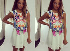 Women Floral Sleeveless Party Dress Evening Cocktail Casual Loose Mini Dress