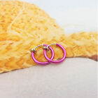 Body Piercing Lip Nose Ring Fake Earrings Punk Clip On Hoop Ear Stud Women 2pcs