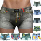 Fashion Men's 3D Cartoon Cotton Shorts Denim Jeans Boxer Briefs Sexy Underwear