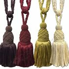 Pair Opulent Designer Large Thick Rope Curtain Tiebacks with Tassel, 4 Colours