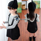 Autumn Girl Child Baby Kids Princess Party Stripe Fake Overalls Dress Skirt 3-8Y