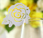 Laser cut Pearlescent rose wedding favor mark wine glass cards table name card