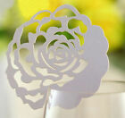 Pearlescent rose wedding favor mark wine glass cards laser cut table name card