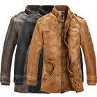 Men's Winter OUTWEAR Vintage Pu Leather Jacket Thicken Parka Motorcycle Overcoat