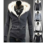 FREE P&P Men's Coat Slim Winter Jackets Fur Collar Hooded Sweatshirt Outwear NEW