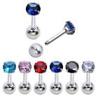 16G CZ Gem Steel Barbell Ear Tragus Cartilage Helix Stud Earring Piercing Punk