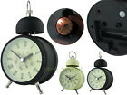 French Country Metal Single Bell 10cm Analog Alarm Clock with Light