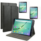 Hard Shell Leather Case Cover+Screen Protector For Samsung Galaxy Tab S2 8.0/9.7