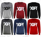 Womens Ladies Long Sleeve Diamond Dope Print Pullover Sweatshirt Jumper Top 8-22