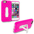 For iPhone 5 5S 6 Plus 4.7 5.5 Diamond Studded Bling Hard Soft Hybrid Case Cover