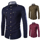 2015 new fall trend leisure slim long sleeved shirt shirt multi zipper buckle
