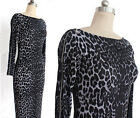 Fashion Women Grey Leopard Animal Symmetry Print Fitted  Pencil Dress CALO