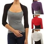 Womens Long Sleeve Bolero Shrug Knit Stretch Cropped Cardigan Top Sweater
