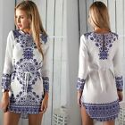 Blue & White Ceramics Style Floral Casual Women's Evening Prom Party Mini Dress