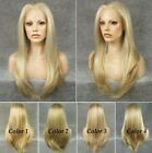 "24"" front lace long straight golden highlight heat resistant synthetic wig"