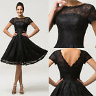 RETRO LACE 1950's Wedding Guest Short Evening Party Prom Formal Cocktail Dresses
