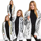 Womens Long Sleeve Animal Print Zebra Front Open Long Blazer Jacket Top Cardigan