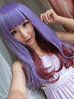 Women Lady Long Curly Wavy Synthetic Anime Cosplay Party Violet and wine red Wig