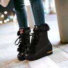 Womens Luxury Rhinestones Wedge Heels Platform Lace Up Ankle Snow Boots Size NEW