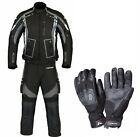 Mens Motorbike Motorcycle Cordura Jacket Trouser Textile CE Armoured Suit Gloves