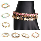 Women Folk Style Alloy Bangle Handwoven Rope Sequined Tassels Leather Bracelets