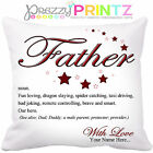 PERSONALISED NOUN FATHER CUSHION BIRTHDAY CHRISTMAS GIFT FATHERS DAY DAD DADDY