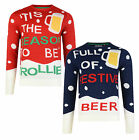 Christmas Jumper New Novelty Xmas Knit Sweater Funny Trollied Drunk Festive Beer